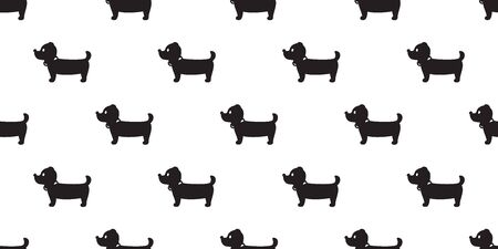 Dog seamless pattern Dachshund vector puppy scarf isolated cartoon illustration tile background repeat wallpaper