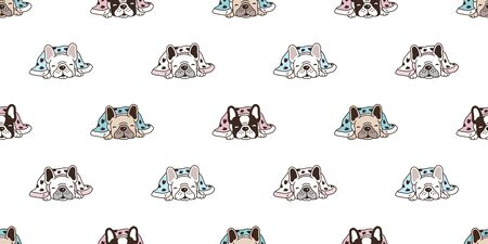 Dog seamless pattern french bulldog vector sleeping blanket scarf isolated tile background repeat wallpaper cartoon illustration