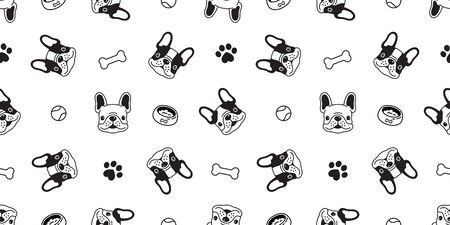 Dog seamless pattern french bulldog vector paw bone ball tile background scarf isolated repeat wallpaper illustration cartoon white Иллюстрация