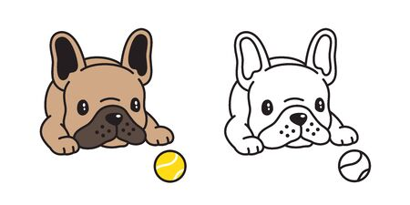 dog vector french bulldog icon tennis ball toy cartoon character illustration symbol doodle brown