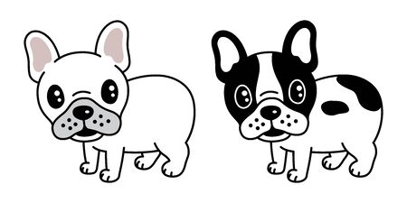 dog vector french bulldog icon cartoon character pug illustration Иллюстрация
