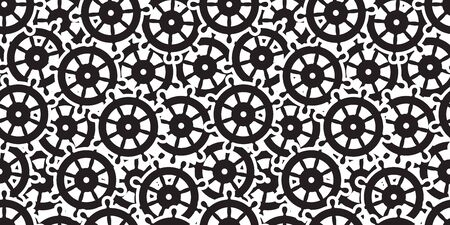 helm seamless vector pattern anchor boat maritime nautical sea ocean tile background repeat wallpaper scarf isolated Illustration