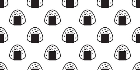 onigiri seamless pattern vector sushi japanese food tile background scarf isolated illustration cartoon repeat wallpaper  イラスト・ベクター素材