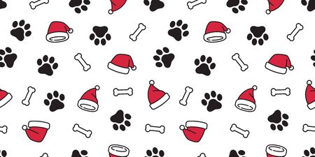 Dog paw seamless pattern vector Christmas Santa Claus Xmas hat french bulldog bone tile background cartoon scarf isolated repeat wallpaper illustration