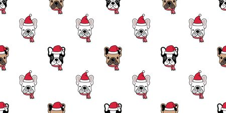 Dog seamless pattern Christmas vector french bulldog Santa Claus hat Xmas scarf cartoon illustration isolated tile background repeat wallpaper