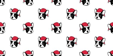 Dog seamless pattern Christmas vector french bulldog Santa Claus Xmas hat scarf cartoon illustration isolated tile background repeat wallpaper