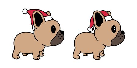 dog vector french bulldog Christmas Santa Claus Xmas hat scarf cartoon character icon illustration brown