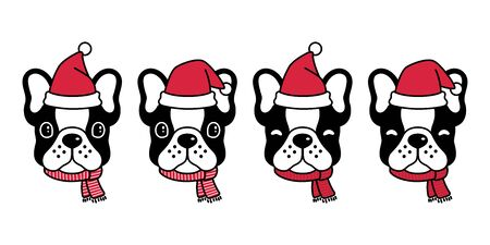 dog vector french bulldog Christmas Santa Claus Xmas hat scarf cartoon character icon illustration black
