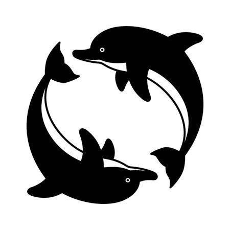 dolphin vector icon fish cartoon character symbol shark whale ocean sea illustration graphic Çizim