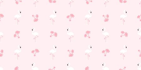 Flamingo seamless pattern vector pink Flamingos exotic bird palm tree coconut tropical scarf isolated summer repeat wallpaper tile background cartoon illustration pastel graphic