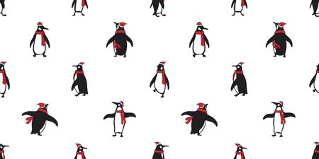 penguin Seamless pattern vector Christmas Santa Claus Hat Xmas bear polar salmon fish cartoon scarf isolated tile background repeat wallpaper illustration