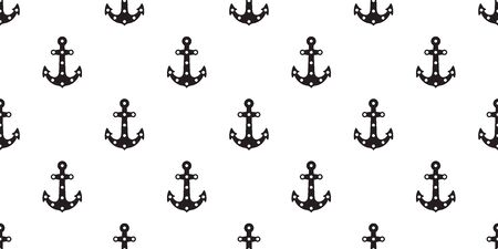Anchor seamless pattern vector boat helm isolated scarf Nautical maritime polka dot sea ocean repeat wallpaper tile background Иллюстрация