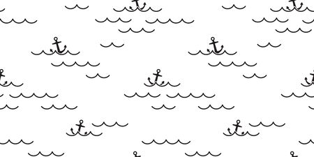 Anchor seamless pattern vector ocean sea boat beach scarf isolated maritime Nautical repeat wallpaper tile background