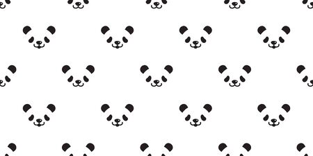 bear panda seamless pattern vector polar bear teddy cartoon scarf isolated tile background repeat wallpaper doodle illustration