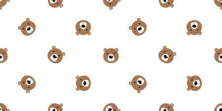 bear seamless vector pattern polar bear panda teddy isolated background repeat wallpaper cartoon doodle brown Stock Vector - 129603129