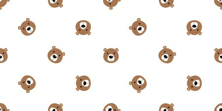 bear seamless vector pattern polar bear panda teddy isolated background repeat wallpaper cartoon doodle brown