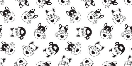 Dog seamless pattern french bulldog pug isolated coffee cup heart valentine background repeat wallpaper Иллюстрация