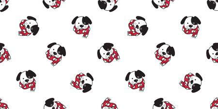 Dog seamless pattern french bulldog vector Christmas polka dot scarf isolated cartoon illustration repeat wallpaper tile background