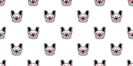 Dog seamless pattern french bulldog vector repeat wallpaper background isolated Иллюстрация