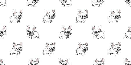 Dog seamless pattern french bulldog vector tile background repeat wallpaper tile scarf isolated illustration