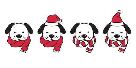 dog vector Christmas french bulldog Santa Claus hat Xmas scarf icon puppy head cartoon character illustration