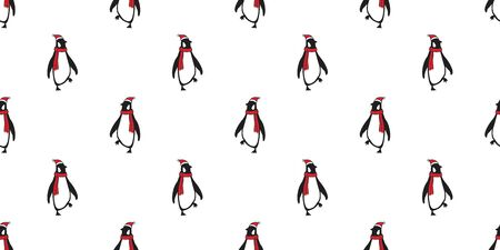 penguin Seamless pattern vector Christmas Santa Claus Hat Xmas bear polar cartoon scarf isolated tile background repeat wallpaper illustration