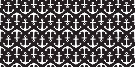 Anchor seamless pattern vector boat helm pirate scarf isolated Nautical maritime ocean sea tile background repeat wallpaper black Иллюстрация