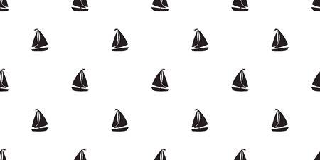 boat seamless pattern yacht anchor helm vector Nautical maritime background Иллюстрация