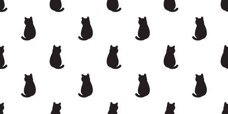 cat Seamless pattern vector kitten calico cartoon scarf isolated halloween tile background doodle illustration repeat wallpaper white black