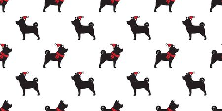 dog seamless pattern Christmas vector Santa Claus Xmas hat french bulldog scarf cartoon isolated tail background repeat wallpaper illustration