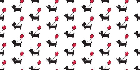 Dog seamless pattern Dachshund vector balloon puppy scarf isolated cartoon illustration repeat wallpaper tile background