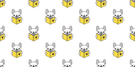 Dog seamless pattern french bulldog pug reading book isolated wallpaper