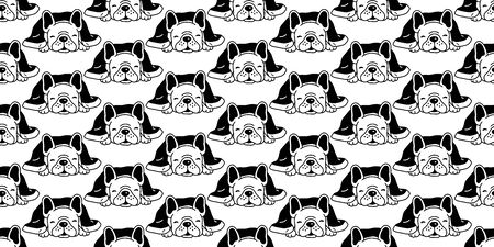 Dog seamless pattern french bulldog vector sleeping blanket Christmas cartoon illustration scarf isolated repeat wallpaper tile background