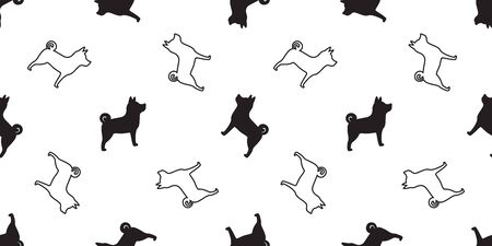 Dog seamless pattern vector isolated Shiba Inu Dog Breed wallpaper cartoon tile background