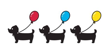 dog vector Dachshund icon balloon puppy cartoon character illustration