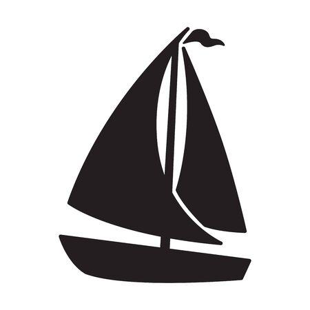 boat vector icon sail sailboat yacht ship anchor helm maritime Nautical illustration