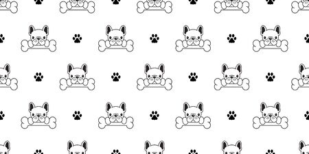 Dog seamless pattern vector french bulldog pug bone paw scarf isolated puppy wallpaper background white