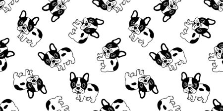 Dog seamless pattern french bulldog vector pug repeat background tile wallpaper isolated cartoon Иллюстрация