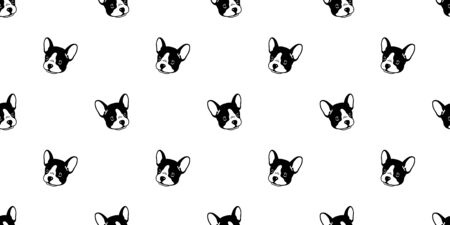 Dog seamless pattern french bulldog vector tile background scarf isolated wallpaper cartoon illustration graphic