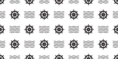 helm Seamless Pattern vector boat pirate anchor nautical maritime wave tropical summer beach ocean tile background scarf isolated repeat wallpaper