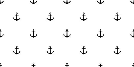 Anchor Seamless Pattern vector boat helm pirate nautical maritime tropical background isolated wallpaper illustration Иллюстрация