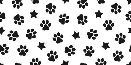 Dog Paw seamless vector footprint pattern kitten puppy star tile background repeat wallpaper illustration cartoon scarf isolated Иллюстрация