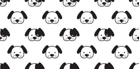 Dog seamless pattern Dachshund vector puppy head french bulldog scarf isolated cartoon illustration repeat wallpaper tile background