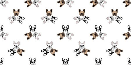 Dog seamless pattern french bulldog vector isolated repeat wallpaper tile background