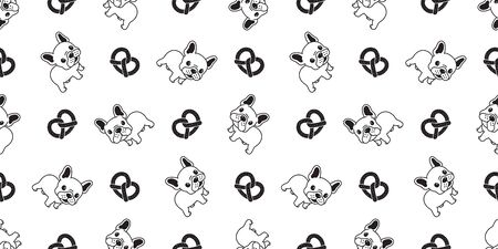Dog seamless pattern vector french bulldog pretzel tile background scarf isolated repeat wallpaper illustration cartoon dog breed