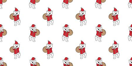Bear seamless pattern Christmas vector Polar Bear Santa Claus Xmas gift cartoon scarf isolated tile background repeat wallpaper