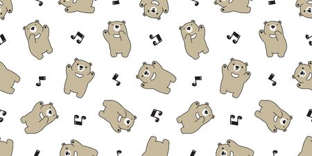 Bear seamless pattern vector Polar Bear singing song music note dancing cartoon scarf isolated tile background repeat wallpaper gift wrap Stock Vector - 129603518