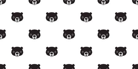 Bear seamless pattern vector polar bear smile cartoon illustration repeat wallpaper scarf isolated tile background Иллюстрация