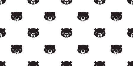 Bear seamless pattern vector polar bear smile cartoon illustration repeat wallpaper scarf isolated tile background Stock Vector - 129603522