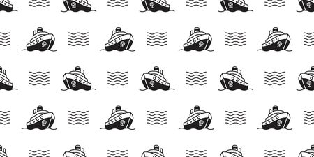 boat seamless pattern vector yacht sailboat anchor helm pirate maritime Nautical wave ocean sea tropical scarf isolated repeat wallpaper tile background